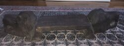 Antique Carved Wood Gothic Lion Head Stool Bench Furniture Low Chair Old