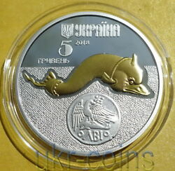2018 Ukraine Dolphin 1/2 Oz Silver Proof Coin Gilded Fauna Wwf Red Book Wildlife