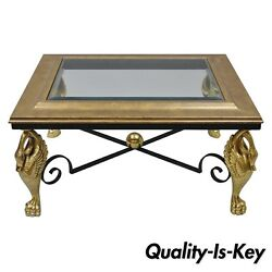 Regency Style Swan Base Rectagular Coffee Table Gold Metal Iron And Glass Top A