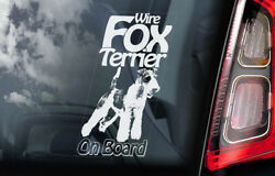 Fox Terrier on Board - Car Window Sticker - Wire Haired Dog Sign Gift Decal -V02
