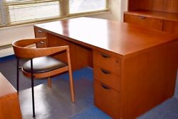 Luxury Office Desk Furniture Cherry Wood Excellent Condition Pickup From Ny