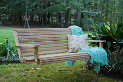 5ft Cypress Wood Deluxe Roll Porch Bench Swing With Hanging Hardware Made In Usa