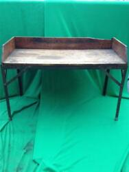 Vintage Wooden Wood And Steel Workbench Work Table Bench 57 X 38 Littlestown Vise