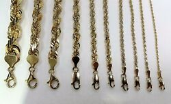 10k Solid Gold Yellow Rope Chain Necklace 1.5mm 9mm 16 30 For Men Women