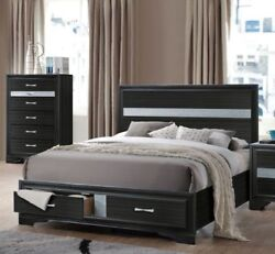 Queen Size Bed Contemporary Style Rich Black Finish Storage Bedroom Furniture