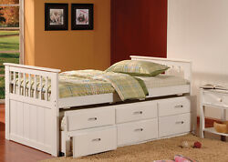 Modern Style White Finish Bed W/trundle And Drawer Wood Bedroom Furniture Kids Bed