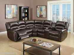 Brown Motion Sectional L/R Facing Loveseat w Console Recliner Wedge Silver Studs