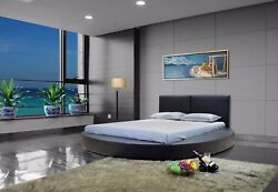 Greatime Modern Contemporary Platform Round Bed Fully Upholstered Faux Leather