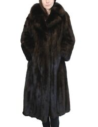 XL LONG BLACK-DYED SABLE FUR COAT wLARGE COLLAR & TURN UP CUFFS! wSTORAGE BAG!
