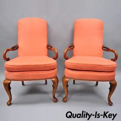 Pair Of Queen Anne Office Living Room Cherry Arm Chairs Shaker Heights Chalfont