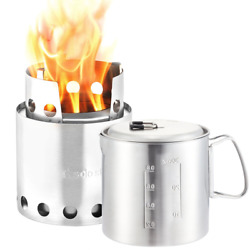 Solo Stove & Pot 900 Combo: Ultralight Wood Burning Backpacking Cook System. Lig