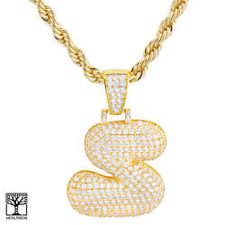 S Initial Custom Bubble Letter Gold Plated Iced Cz Pendant 24 Chain Necklace