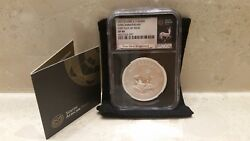 2017 S Africa Silver Krugerrand Fdi First Day Of Issue Ngc Sp69 - Black Core
