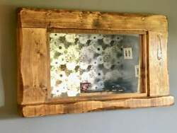 Large Distressed Mirror Mantle Mantel Wall Fireplace Rustic Reclaimed Wood Shelf