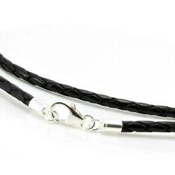 Mens/ladies Black Leather Necklace-925 Sterling Silver Clasp-3mm Braided Cord