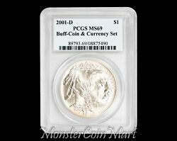 2001-d 1 Silver Buffalo Pcgs Ms69 - Coin And Currency Set