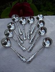 Antique Whiting Sterling Silver Louis Xv 10 Round Bowl Soup Spoons Bouillon