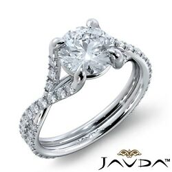 2.45ct French Cut Classic Accent Round Diamond Engagement Ring GIA E-VVS1 W Gold