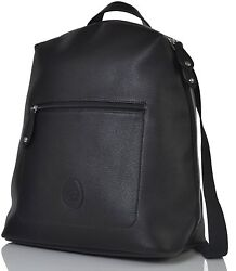 PacaPod Hartland Black Designer Baby Diaper Bag - Luxury Faux Leather Backpack