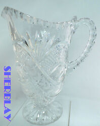 Stunning Vintage Clear Glass Crystal Large Heavy Water Drink Pitcher 8.75 X 5