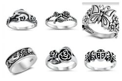 New Designs Sterling Silver- Dolphin Rose Bugs And Butterfly Rings 4-12