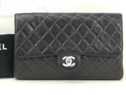 CHANEL Black Leather Classic Flap Clutch: Silver Tone CC Evening Hand Bag $3490