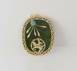 14k Yellow Gold Nephrite Jade Pendant With Turquoise Cabochon Accent