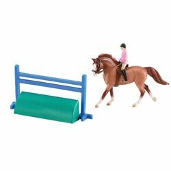Breyer Stablemates Red Roan Cantering Sport Horse and English Rider and Jump
