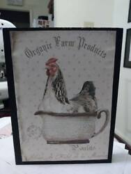 rooster chicken kitchen wooden sign dairy primitive shabby vintage collectible