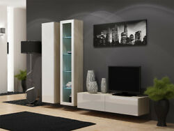 Seattle D5 - White And Oak Entertainment Center Cabinet / Living Room Wall Unit