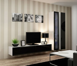 Seattle 10 - Black And White Living Room Wall Unit / Modern Entertainment Center