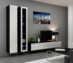 Seattle 11 - White And Black Living Room Wall Unit / Entertainment Center