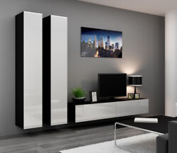 Seattle 15 - Black And White Modern Entertainment Center / Living Room Wall Unit