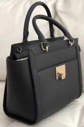 NWT MK Leather Bag Purse Satchel Crossbody Michael Kors Tina Black And Gold Lg