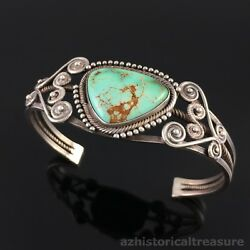 Old Native American Navajo Sterling Silver And Turquoise Cuff Bracelet