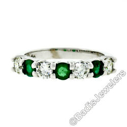 New 14k White Gold 1.33ctw Shared Prong Big Round Diamond And Emerald Band Ring