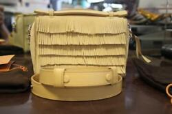 TOD'S Gommino Yellow Suede Micro Fringed Shoulder Crossbody Bag wstrap NWT