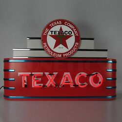 Art Deco Marquee Texaco Motor Oil Banner Neon Light Sign In Steel Cans 39 X 28