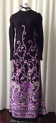 Vintage 70's Embroidered Knit Maxi Dress Size S/xs Made In France