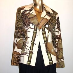 Auth. Hermes Vintage 90s Jardin Creole Couture Thick 100 Silk Jacket Fabulous