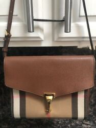 Burberry House Check Derby Small Macken Crossbody Leather Tan Brown Bag