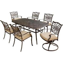 7 Piece Dining Set Large Table 2 Swivel Chairs Outdoor Patio Garden Furniture