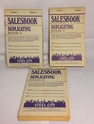 3 Steel City Salesbook Duplicating Style No. 12 - 50 Sheets Per Book w Carbon