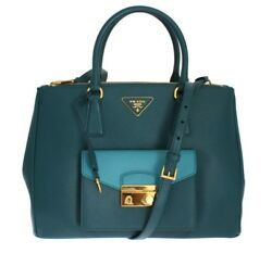 NWT PRADA Blue Saffiano Calf Leather Lux Bag Handbag Crossbody Satchel Tote Hobo