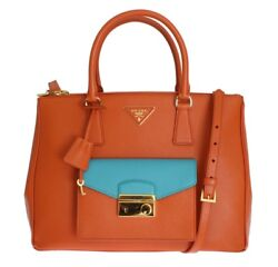 PRADA Orange Saffiano Calf Leather Lux Bag Handbag Crossbody Satchel Tote Hobo