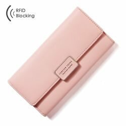 Women Leather Pocket Wallet Purse For Girls Credit Card Cash Notecase No Tax