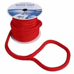 Red 5/8and039and039x 50ft Double Braided Nylon Dock Line Mooring Rope Amarine-made Us Ship