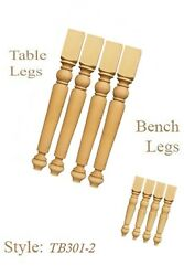 2 Sets Of Unfinished Professional Hand Made Table And Bench Legs In Pine Wood