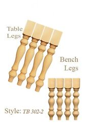 2 Sets Of Unfinished Handmade Pine Wood Turned Dining Table/bench Legs
