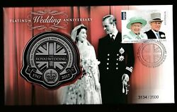2017 Platinum Wedding Anniversary Stamp First Day Cover Medallion Pnc No.3134